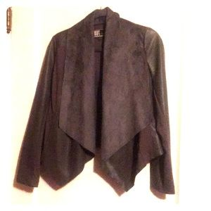Gray faux leather drape front jacket
